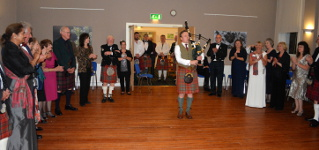 Duncan Piping in the Chief at Clan Dinner 2014
